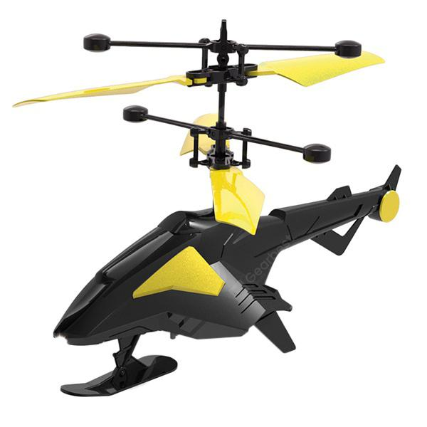 2 in 1 Charge Remote Control / Induction Aircraft Helicopter Toy - YELLOW
