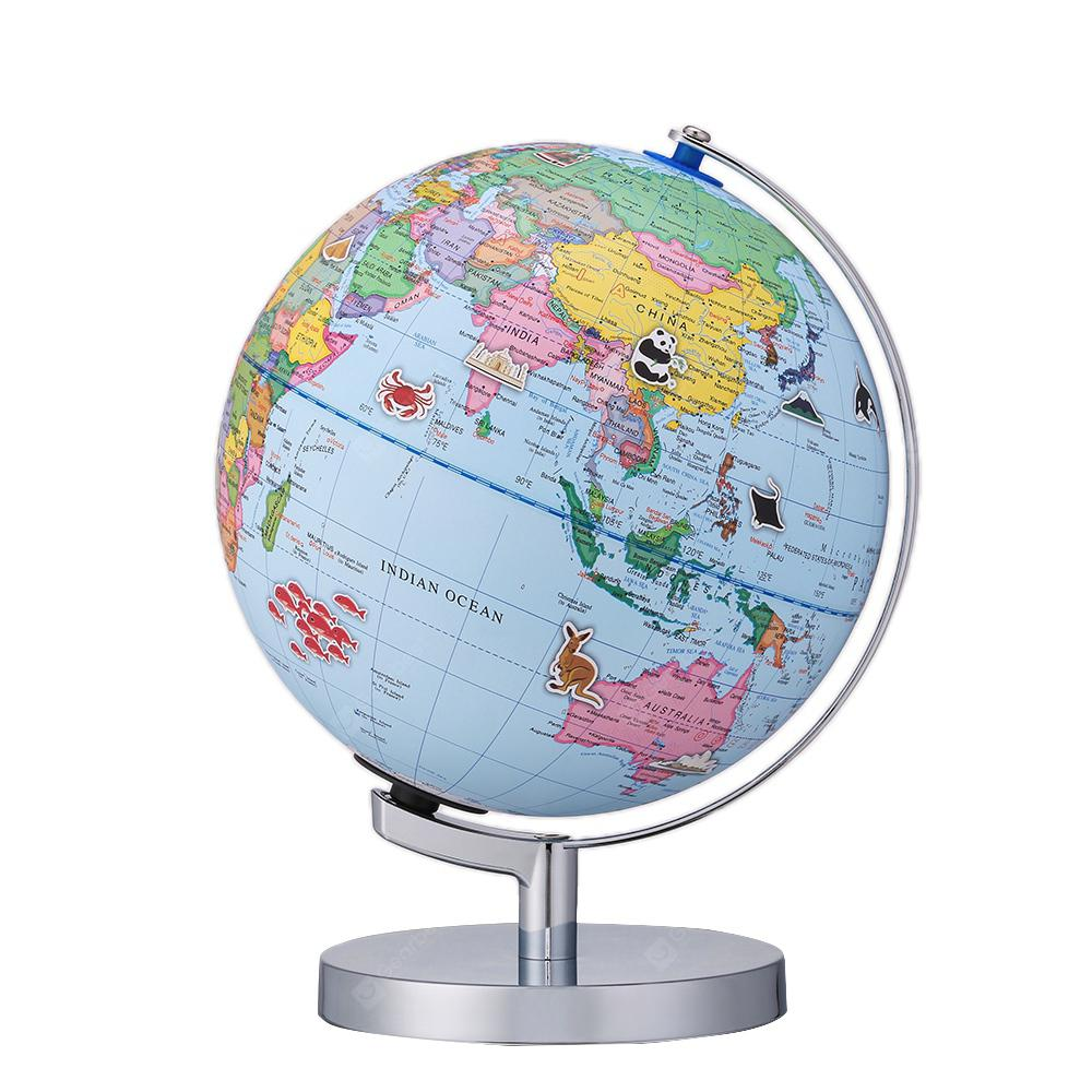 9 inch AR 3D Desktop World Globe with Blue Oceans Interactive Toy - BLUE IVY