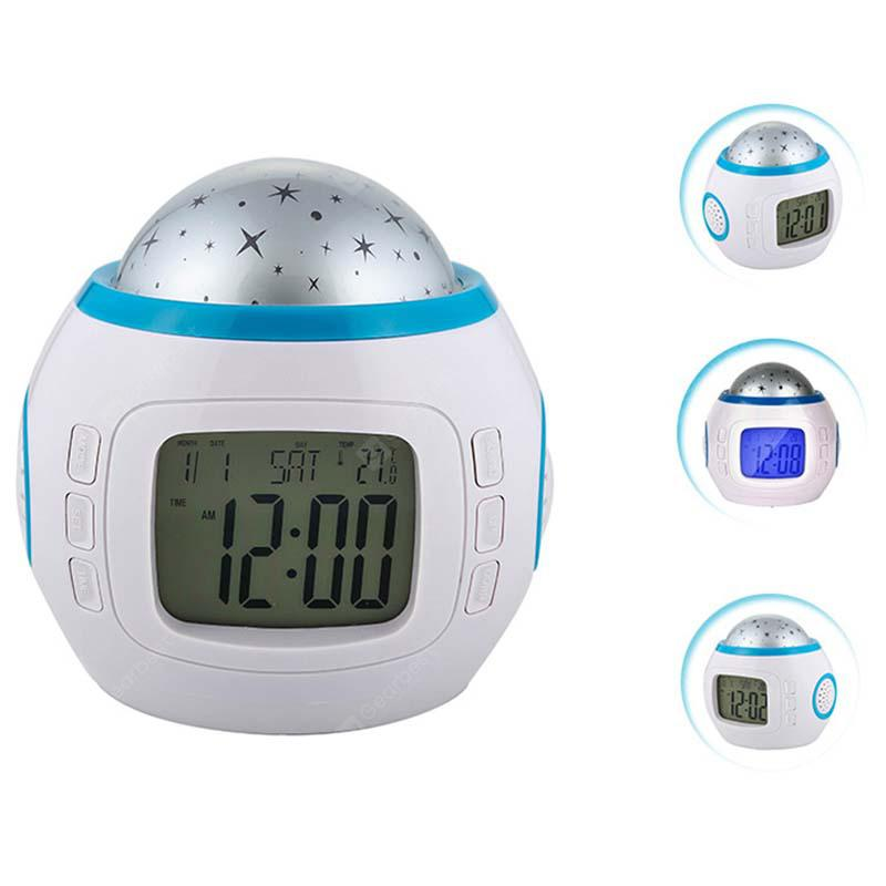 Colorful Lights Luminous Alarm Clock - WHITE