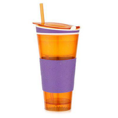 Creative Beverage / Snacks Isolation Straw Cup for Watching Movie 1pc