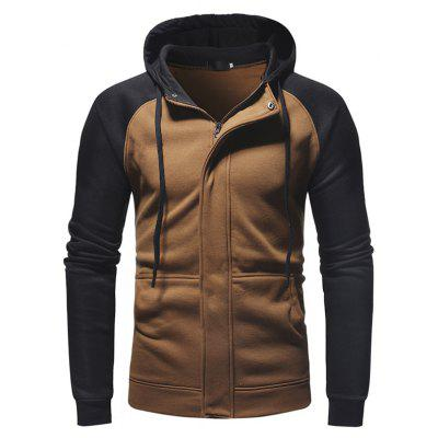 Trendy Zipper Matching Color Hoodie Sweatshirt for Men