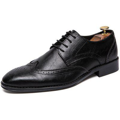 Stylish Wear-resistant Breathable Lace-up Leather Shoes