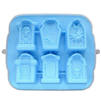 6-hole Silicone Ice Mold with Tombstone Shape