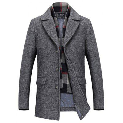 Stylish Wool Coat with Scarf for Men