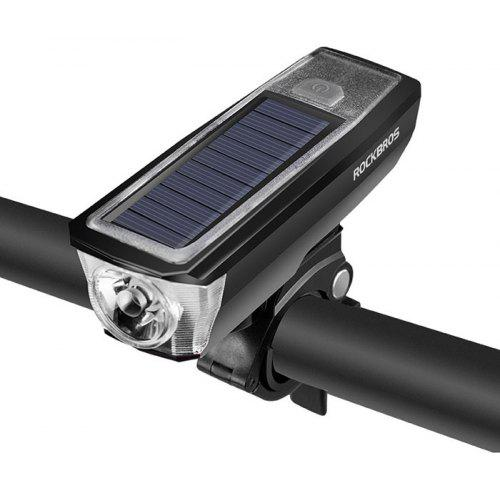 USB Solar Rechargeable Bicycle Front Light Head Lamp 360 Rotating Lamp Holder