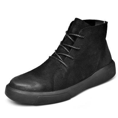Winter Warm Leather Lace Up Men's Shoes Buty