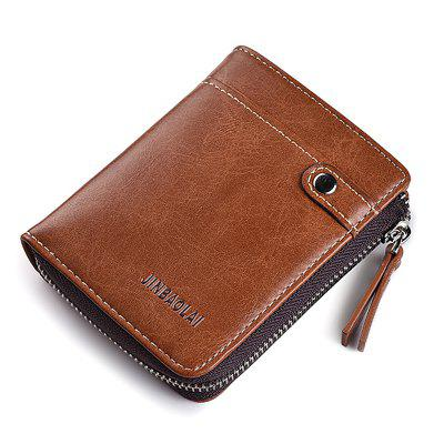 JINBAOLAI Leisure Business Zipper Bifold Leather Wallet