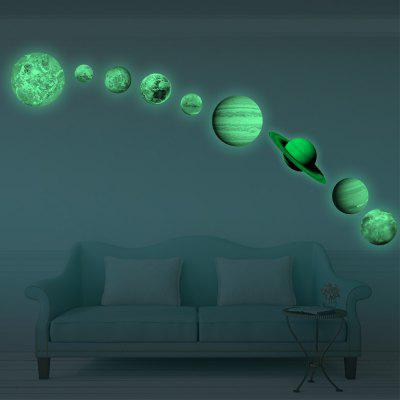 Luminous Nine Planets Moon Wall Decals Sticker for Children's Bedroom Decoration