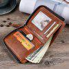 JINBAOLAI Leisure Business Zipper Bifold Leather Wallet - TIGER ORANGE