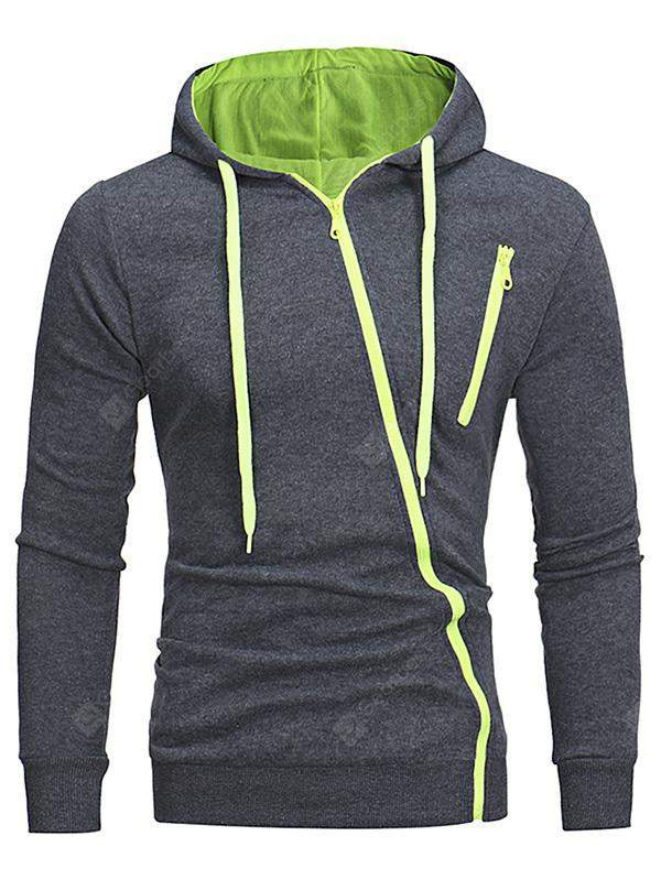 Diagonal Zipper Men's Casual Slim Hooded Cardigan Sweater