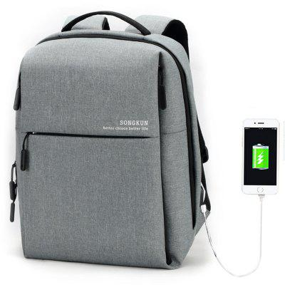 Songkun Male Business Solid Color Backpack with USB Port