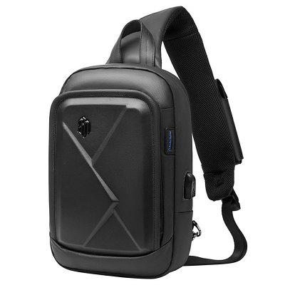ARCTIC HUNTER Solid Color Chest Bag with USB Port
