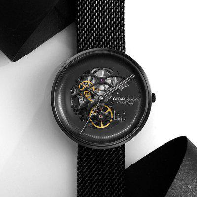Gearbest Xiaomi Youpin CIGA Hollowed-out Mechanical Automatic Watch - BLACK