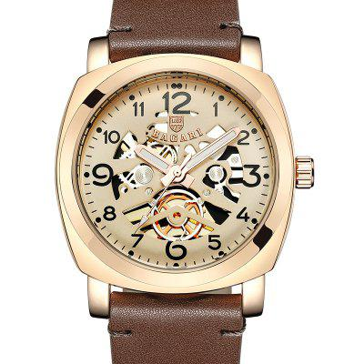 BAGARI 1667P Male Quartz Watch with Leather Band
