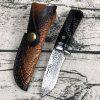 Outdoor Camping Sharp Damascus Steel Straight Knife - CZARNY