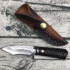 Outdoor Camping Damascus Steel Straight Knife - CZARNY