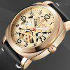 BAGARI 1667P Male Quartz Watch with Leather Band - MULTI-A