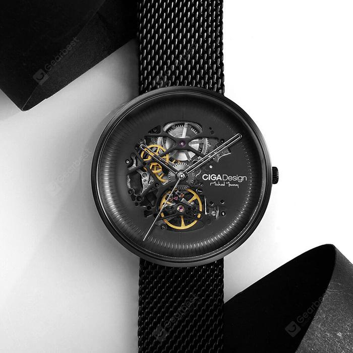 Xiaomi Youpin CIGA Hollowed-out Mechanical Automatic Watch - BLACK from Gearbest Image