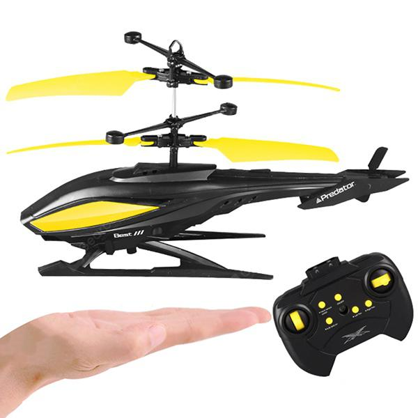2 in 1 Charge Remote Control / Induction Aircraft Helicopter Toy - JADE GREEN