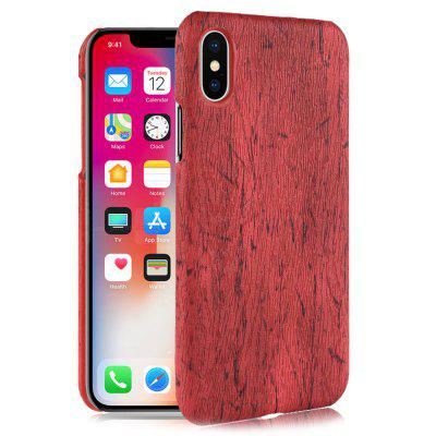 Wood Grain PU Leather + PC Phone Case for iPhone XS