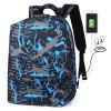 Sports Business Anti-theft USB Charging Port Backpack - BLUEBERRY BLUE