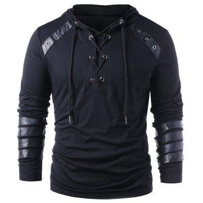 Stylish Lace Up Drawstring Hoodie for Men