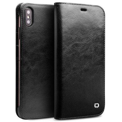 QIALINO Flip Leather Protective Phone Case for iPhone XS Max