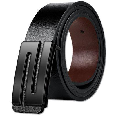 Men's Smooth Buckle Cow Leather Belt Business Casual