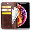 QIALINO Flip Leather Protective Phone Case for iPhone XR - BROWN