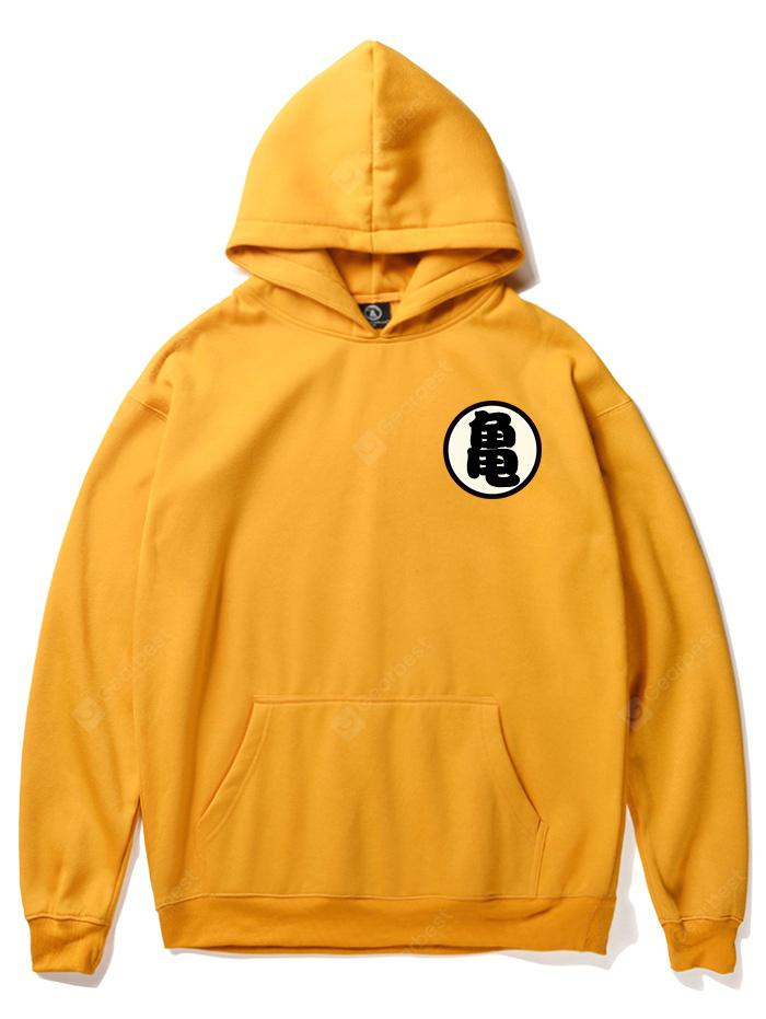 Goku Symbol Dropped Shoulder Thicken Men's Hooded Sweater for Winter Autumn - BRIGHT YELLOW S 285875706