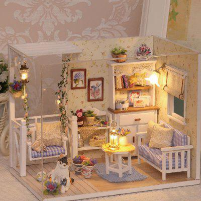 DIY Miniature Dust Cover 3D Wooden Dollhouse Toys Set for Children