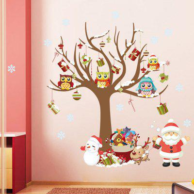 Christmas Tree Santa Claus Pattern Wall Sticker for Children's Room Bedroom Decoration