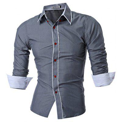 Trendy Men Slim Hit Color Long-sleeved Shirt