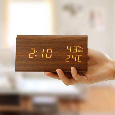 Creative Home Office Wood Style Voice Temperature Control Desk Table Clock