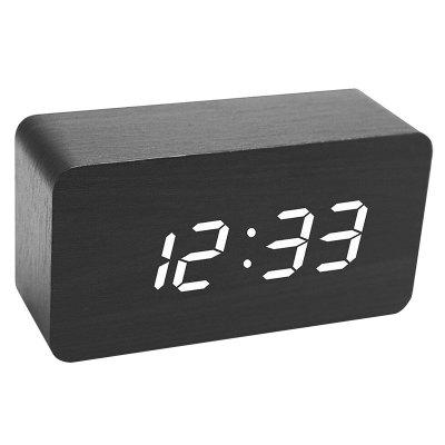 Creative Home Office Wood Voice Control Desk Table Clock