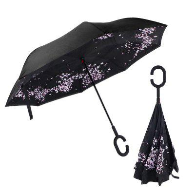 Upstanding Long Handle Double Layer Printing Hand Free Umbrella