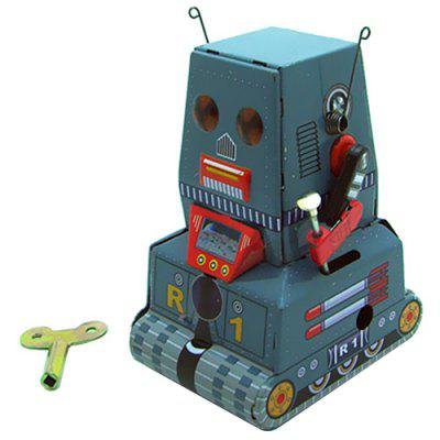 Folha de Flandres Retro Clockwork Tank Robot Toy