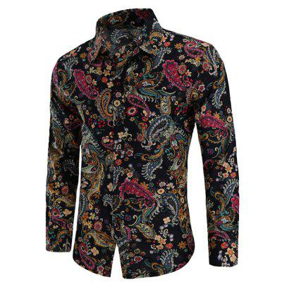 Turn Down Collar Paisley Printed Shirt for Men