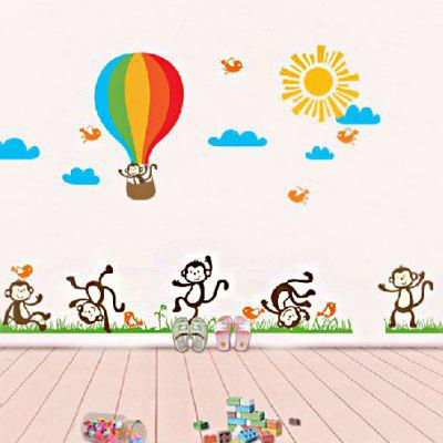 Naughty Monkey Hot Air Balloon Wallpaper