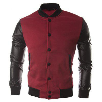 Stylish Spliced PU Jackets for Men