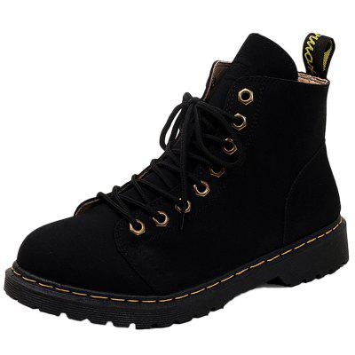 Men Fashionable Warm Pure Color High-top Martin Snow Boots