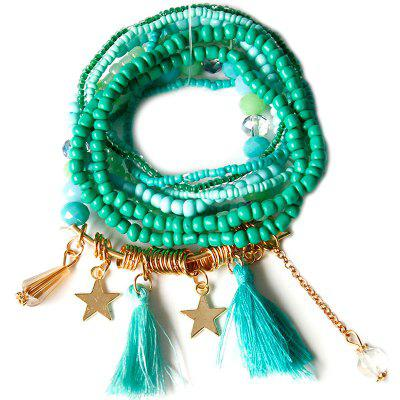 Star and Tassels Bead Bracelet for Women
