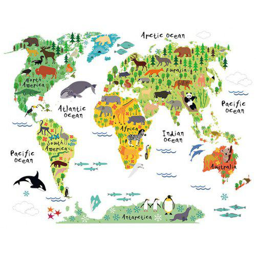 PVC Removable Mural Animal World Map Art Wall Stickers Decal Home Decoration USA