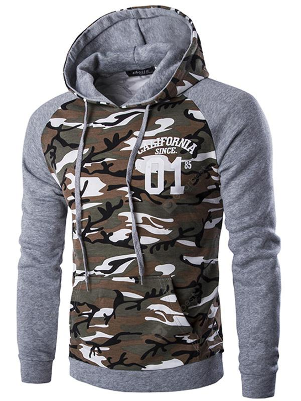 Fashion Camouflage Assorted Colors Hoodie for Men - LIGHT GRAY M 289622901