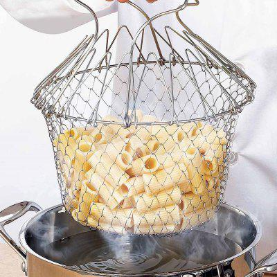 Stainless Steel Foldable Vegetables Washing Telescopic Fried Basket