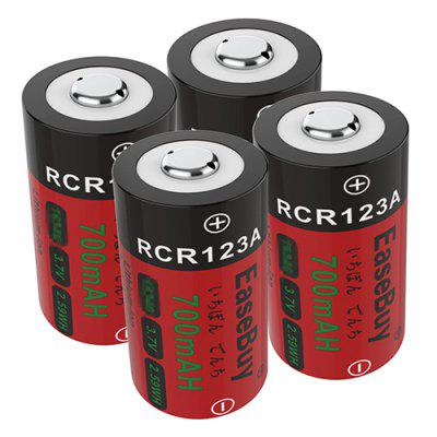 RCR123A 700mAh Rechargeable Lithium-ion Battery for Flashlight 4PCS