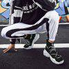 Men Sports Shoes Sneakers Lace Up Knitted Fabric - BLACK