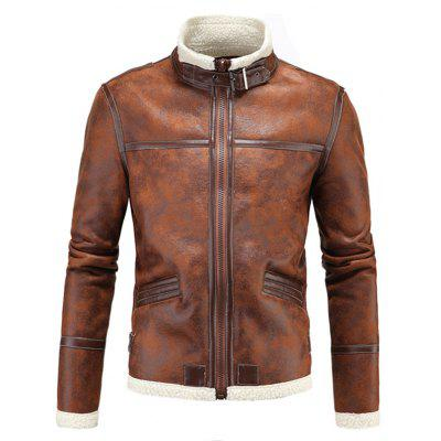 Men Brushed Leather Jacket Coat Stand Collar