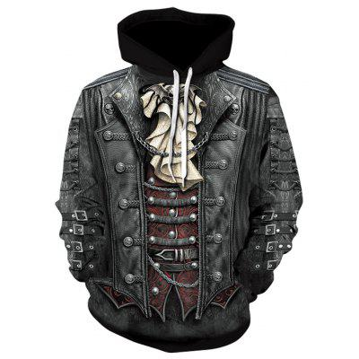 Men's Fashion Hoodies Long Sleeve with 3D Pattern Decoration