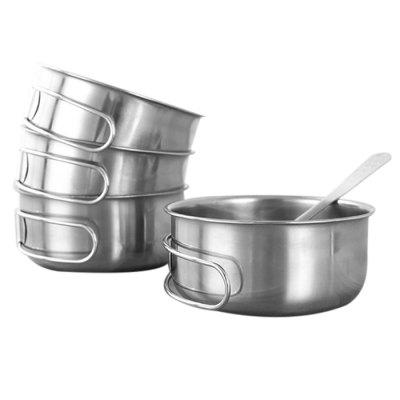 Outdoor Tablewares 2pcs Bowls Outdoor Camping Tableware Stainless Steel Bowl With Foldable Handle Kitchen Dinner Plates Dinner Lunch Food Container To Be Distributed All Over The World Camping & Hiking